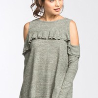 Cold Shoulder Ruffle Sleeve Sweater - Sage