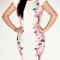 White Floral Print Cap Sleeve Midi Bodycon Dress
