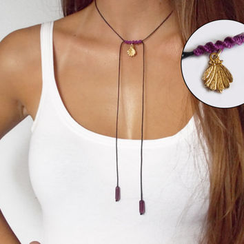 Gold sea shell necklace  with czech glass beads - boho necklace - simple necklace - black cord necklace - black and purple - lariat necklace