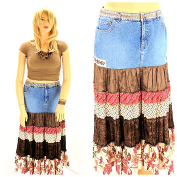 upcycled denim skirt size 6 7 boho from
