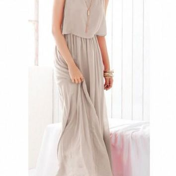 Light Grey Pleated Wrap High Waist Sleeveless Bohemian Chiffon Dress