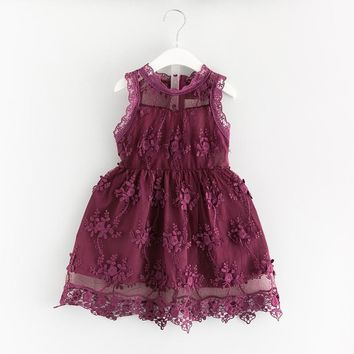 2017 Girls Lace Hem Sleeveless Dress Sweet Summer Dark Purple Child Boutique Costume for Birthday Wedding Retail Fall Color