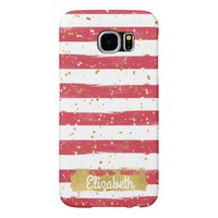 Watercolor Red and White Stripes Gold Personalized Samsung Galaxy S6 Case