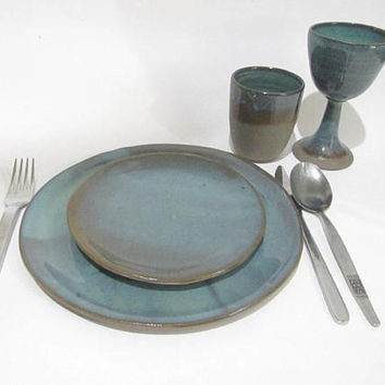 Wine Cups, Set of Wine Goblets, Wine Glasses, Pottery Wine Cups, Handmade Goblets in Turquoise Green and Brown on Gray Stoneware