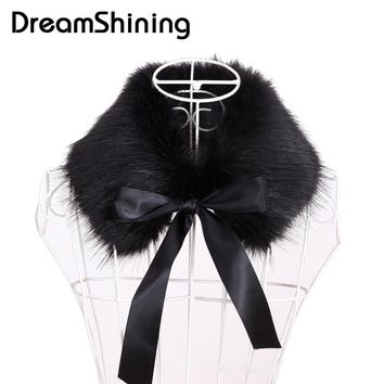 DreamShining Hot Selling Faux Fur Scarf Women New Autumn Winter Warm Scarves Ladies 55cm Faux Fox Fur Collar Wrap Scarves