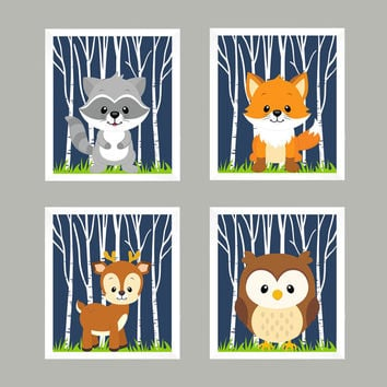 Woodland AnimalsBaby Boy Nursery, Forest Animals on Navy Blue, CUSTOMIZE COLORS, Wall Art, Nursery Decor, Animal Print, Baby Boy Wall Prints