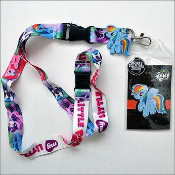 My Little Pony Rainbow DJ Pon-3 Lanyard Necklace ID Holder Keychain With Sticker