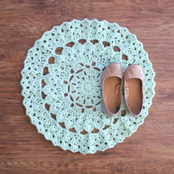 "25"" Crochet Doily Mint Rug For The Home, Nursery, Baby's Room, Boho Rug, Wedding"
