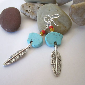 Bear and Feather Earrings by 636designs