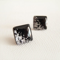 Black Silver Square Stud Earrings - Hipoallergenic Surgical Steel Post
