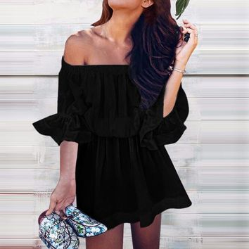 Summer Fashion Women Sexy Pure Color Off Shoulder Dress Black