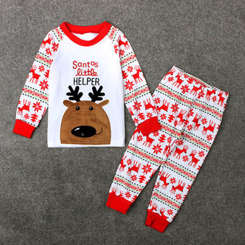 1Set New 2016 Infant Baby Boys Girls Christmas Deer long sleeve T-shirt Tops+Pants Outfits Clothes 2pcs  baby girl clothing suit