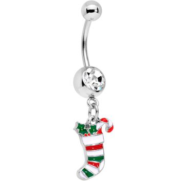 Clear Gem Hang Your Christmas Stocking Dangle Belly Ring