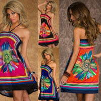 Fashion Halterneck Retro Floral Print Boho Hippie's Summer Casual Sun dress Beach Cover ups = 4904960260