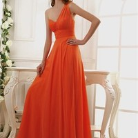 A-line one-shoulder chiffon orange Prom Dresses 2012 PDM352