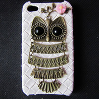 iphone 4s case antique bronze owl and flower white hard case cover for iphone 4G 4GS AB18