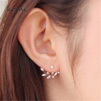 KOMi Hot Sell 2016 New Zircon Crystal Ear Cuff Clip Leaf Double Stud Earrings Elegant Simple Fashion Jewelry For Women O-142