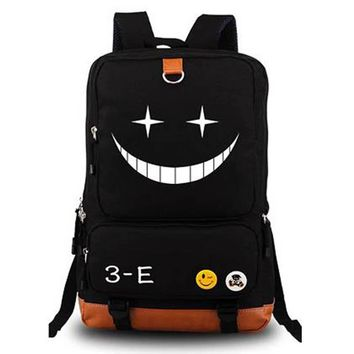Japanese Anime Assassination Classroom Ansatsu Kyoushitsu Backpack Korosensei Emoji Smiley Print Shoulder School Bags Backpacks