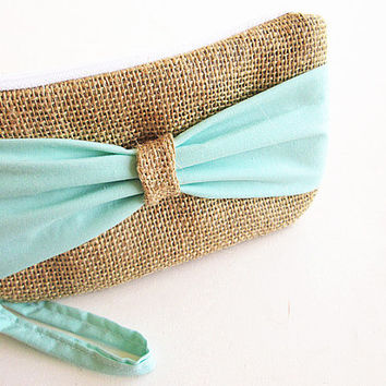 Mint Burlap wristlet -burlap clutch-bridal clutch -bridesmaid clutch-bow