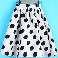 2015 New A-line Polka Dot Puff skirts High Waist Skirt Women Casual Skirt Black/White Summer Skirt Chiffon saia feminina