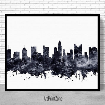 Columbus Print, Columbus Skyline, Columbus Ohio, Office Decor, Office Art, Travel Art, Watercolor City Print, ArtPrintZone