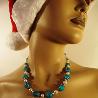 Necklace Assiba Made in Round Turquoise Beads And Freshwater Pearls - Antique Silver Spacers - Winter / Holiday Deals - READY TO SHIP