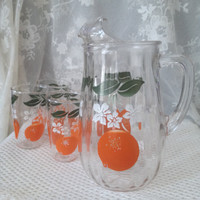 Mid Century Orange Juice Pitcher, Four Matching Juice Glasses, Clear Pressed Glass Set, Oranges, Leaves, Blossoms Design
