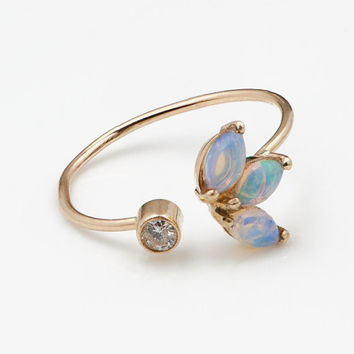 Opal and Diamond Flower Cuff Ring