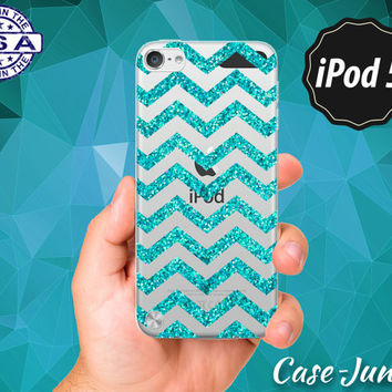 Blue Sparkle Chevron Pattern Glitter Cute Rubber Transparent Crystal Clear Custom Case For iPod Touch 5th Generation Gen
