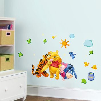 Winnie the pooh Animals Bear tiger friends wall stickers for kids room wall decals home decoration Cartoon Nursery Room Decor