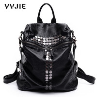 VVJIE Brand Fashion Women Backpacks Rivet Black Soft Washed Leather Bag Schoolbags For Girls Female Leisure Bag mochilas