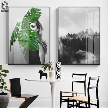 Nordic Girl Portrait Wall Art Canvas Poster and Print Forest Painting Decorative Picture for Living Room Home Decor