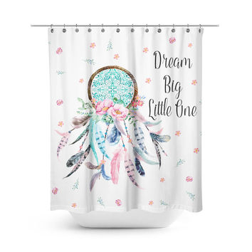 Aqua & Pink Dream Catcher (With Quote) Shower Curtain