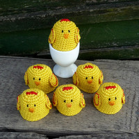 Crochet Chick Egg Cozy - set of 6