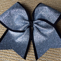 Cheer Bow - Silver Glitter on Black