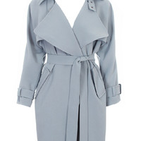 Blue-gray Lapel Waisted Trench Coat With Belt - Choies.com
