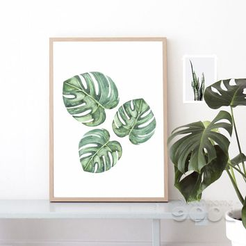 Watercolor Tropical Plant leaf Canvas Art Print Poster,  Wall Pictures for Home Decoration, Giclee Wall Decor CM011-3