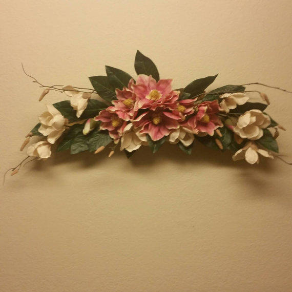Silk floral wall swag pink and cream from for Wall decor arrangements