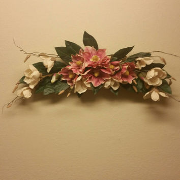 Silk floral wall swag. Pink and cream floral arrangement.  Wall hanging decor. Country summer  Anamones and greenery flower arrangement.