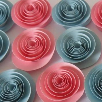 "Pink and Blue quilled roses, 1.5"" paper flowers set of 12 pieces, Gender reveal baby shower table decorations, birthday party decor, wedding art"