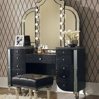 Aico Hollywood Swank Vanity with Bench Set 3 Piece in Black Iguana by Michael Amini