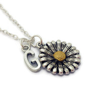 Sunflower Necklace, Daisy Jewellery,  Bridesmaid Gifts, Birthday Gift For Daughter, Best Friend, Personalized Jewelry, Custom Initial