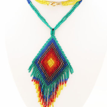 Vintage Glass Seed Bead Necklace, Native American Style