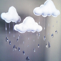 Three White Clouds Mobile with Crystal Glass Raindrops - Handmade - Nursery Decor - Faceted Sun Catcher Sparkling Prisms