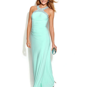 Xscape Jewel-Trim Ruched Halter Gown