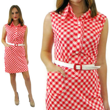 Vintage 60s By DAVID SMITH Gingham Checkered Mod Groovy Waitress Deadstock NWT Dress with Belt Sz 6