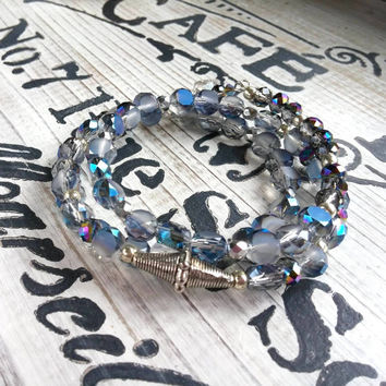 Czech Glass Wrap Bracelet Bohemian Jewelry Blue Silver Crystal Heart Bracelet