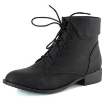 Lace up Ankle Fold Down Combat Military Boots Black Shoes, 6.5