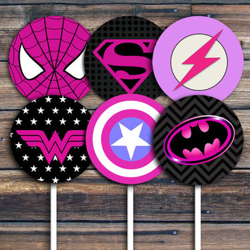 Superhero Cupcake Toppers  1' and 2.5' inches circles