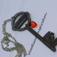 Vintage key with a small red heart , handstamped LOVE, vintage steampunk jewelry